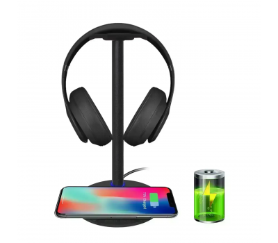 Wireless Charging with Headphone stand New Bee Sturdy 2-in-1 Headset Holder & Wireless Charger Pad for iPhone 8/8 Plus/X Samsung S8/S8 PlusS7/S7 Edge/S6/S6 Edge with LED Indicator (Black), Color: 	Black, image