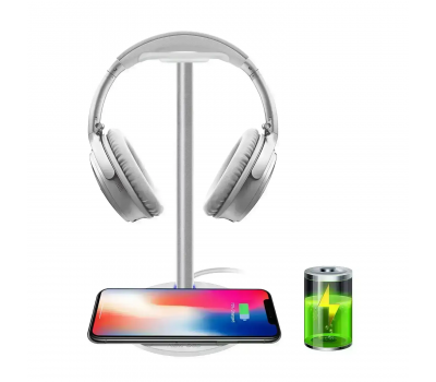 Wireless Charging with Headphone stand New Bee Sturdy 2-in-1 Headset Holder & Wireless Charger Pad for iPhone 8/8 Plus/X Samsung S8/S8 PlusS7/S7 Edge/S6/S6 Edge with LED Indicator (White), Color: White, image